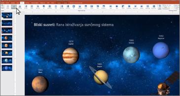 PowerPoint slajd koji prikazuje poravnate planete
