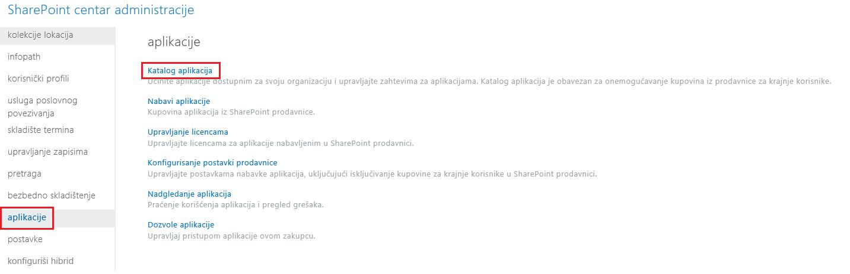 Snimak ekrana kategorija aplikacije SharePoint centra administracije.