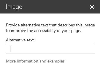 Snimak ekrana dijaloga za alternativni tekst za sliku u sistemu SharePoint.