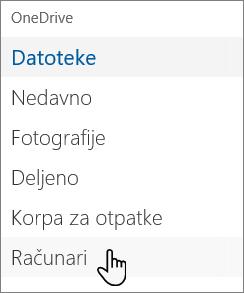 Leva navigacija OneDrive portala prikazuje računare