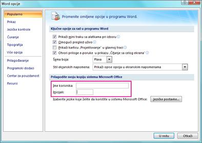Opcije programa Word 2007 personalizovanje