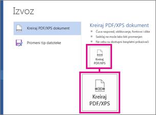 """Dugme """"Napravi PDF/XPS"""" na kartici """"Izvoz"""" u programu Word 2016."""