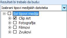 """U polju """"Rezultati treba da budu"""" izaberite tipove medija koje želite da uključite u rezultate pretrage"""