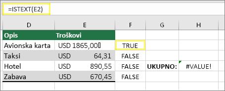 Ćelija F2 sa =ISTEXT(E2) i rezultatom TRUE