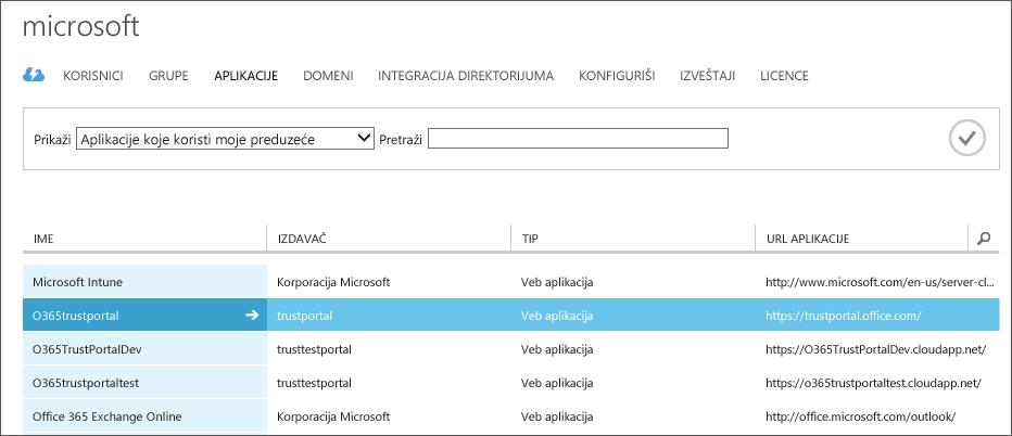 Prikazuje listu Azure AD aplikacija, pri čemu je poverenje usluge markirano (O365trustportal).