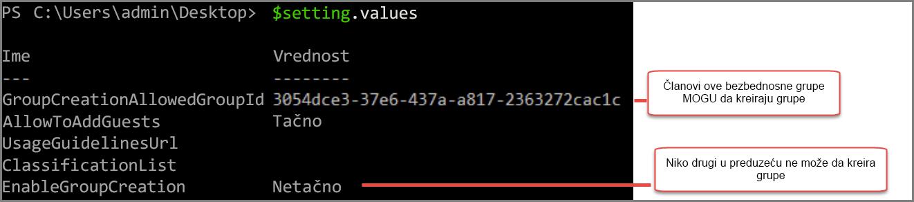 Postavke objekta grupe sa promenjenim vrednost