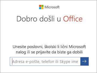 Unesite adresu e-pošte svog Microsoft naloga ili Office 365 nalog