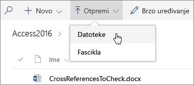 """Snimak ekrana otvorenog menija """"Otpremanje"""" u biblioteci dokumenata."""