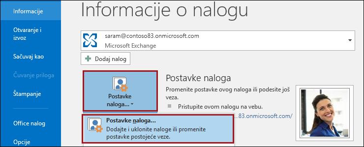 Postavke naloga u programu Outlook