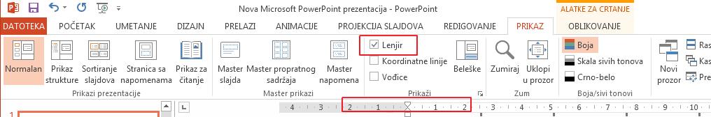 """Polje za potvrdu """"Lenjir"""" nalazi se na kartici """"Prikaz""""."""