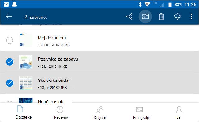 Premeštanje datoteka u OneDrive