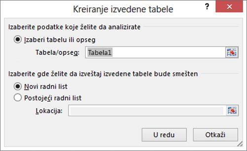 Kreiranje izvedene tabele
