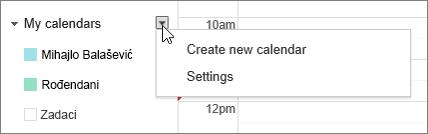 """Odaberite stavku """"Moj kalendar"""", a zatim stavku """"Postavke"""""""