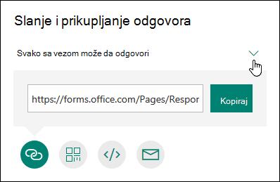 Prikazane su četiri opcije deljenja obrasca: kopiranje, e-pošta, QR kôd i druge