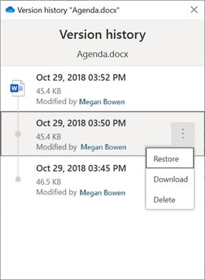 "Okno ""Istorija verzija"" Windows Explorer"