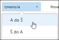 Sortiranje prikaza biblioteke dokumenata u sistemu Office 365