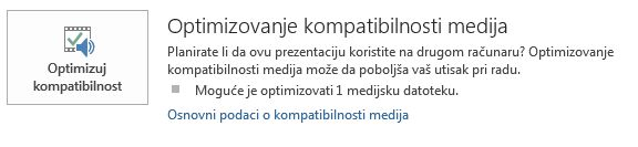 "dugme ""optimizuj kompatibilnost"" u programu PowerPoint"