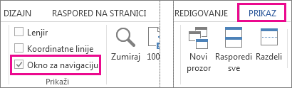 """Slika koja prikazuje polje za potvrdu """"Okno za navigaciju"""" u okviru """"Prikaz"""""""