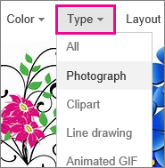 Type menu with Photograph selected