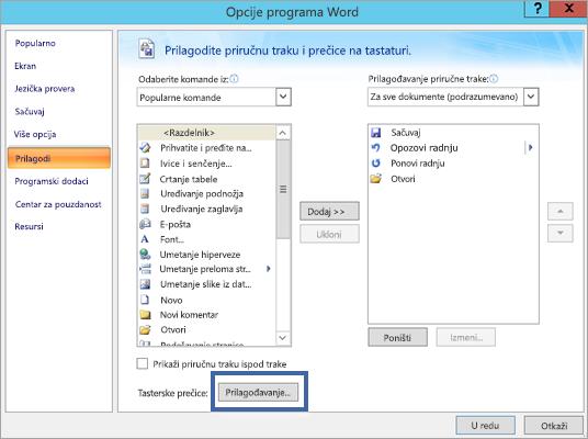 Na dugme Prilagodi Word opcije – okno za prilagođavanje