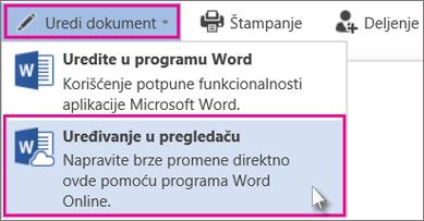 Uredi u programu Word Online