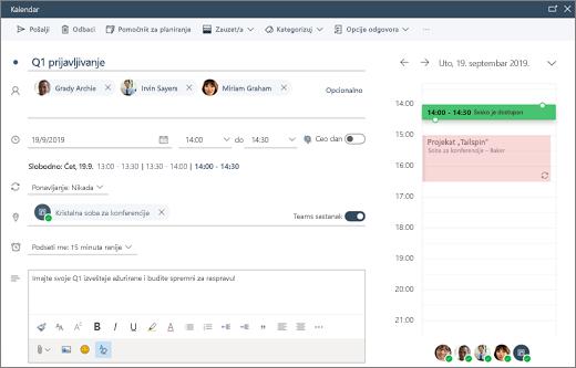 Zakazivanje sastanka u usluzi Outlook na vebu