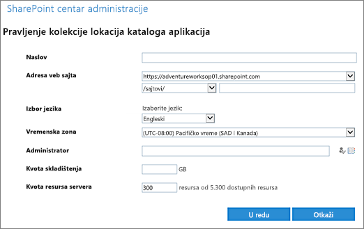 Kreirate katalog aplikacija dijalog