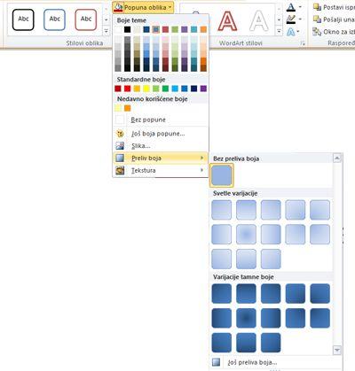 """Popune prelivom boja koje su dostupne u meniju """"Popuna oblika"""""""