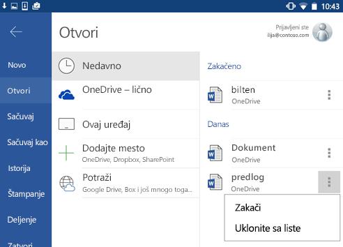 Snimak ekrana opcija PIN-a u odeljku nedavno u Android.