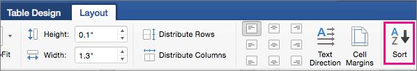"""Kartica """"raspored tabele"""" sa istaknutim opcijom """"sortiranje""""."""