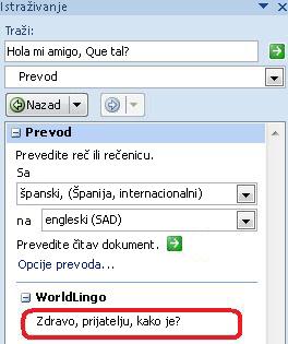 U dijalogu Opcije prevođenja