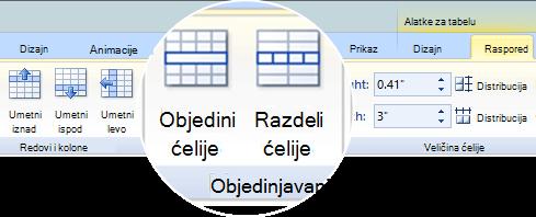 Objedinjavanje ili Razdeljivanje ćelija tabele