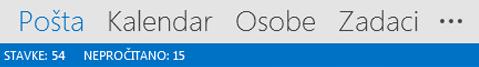 Traka za navigaciju programa Outlook