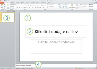Radni prostor ili normalni prikaz u programu PowerPoint 2010 sa označene četiri oblasti.