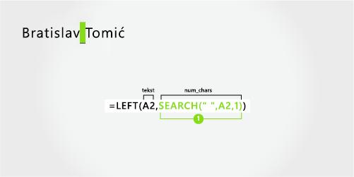 Formula za odvajanje imena i prezimena koje se sastoji od dva dela