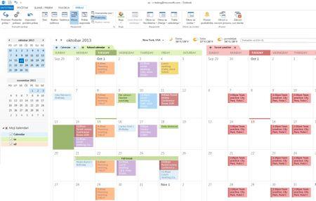 Primer kalendara u uporednom i prekrivenom prikazu