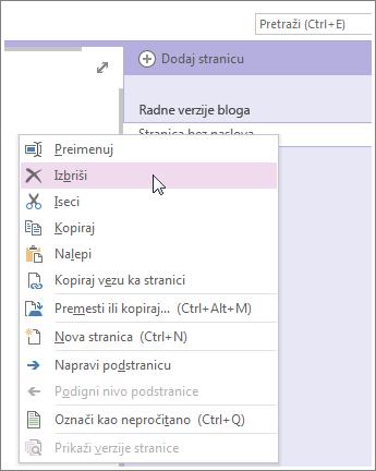 Kliknite desnim tasterom miša na karticu stranice da biste izbrisali stranicu.