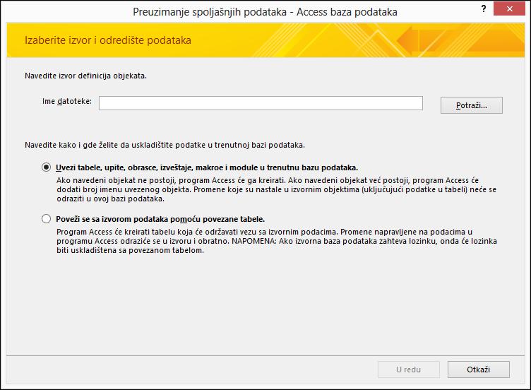 """Snimak ekrana čarobnjaka za uvoz """"Preuzimanje spoljašnjih podataka – Access baza podataka""""."""