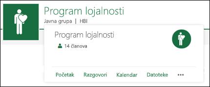 Kartica grupe sajta tima