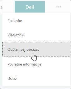Opcija štampanja u programu Microsoft Forms