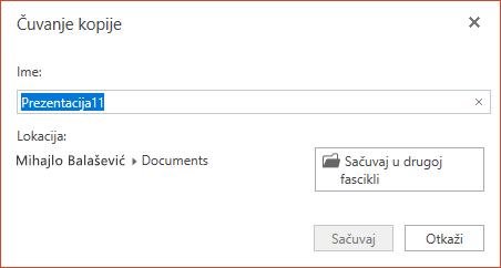 """Dijalog """"Sačuvaj za kopiju"""" u programu PowerPoint Online"""