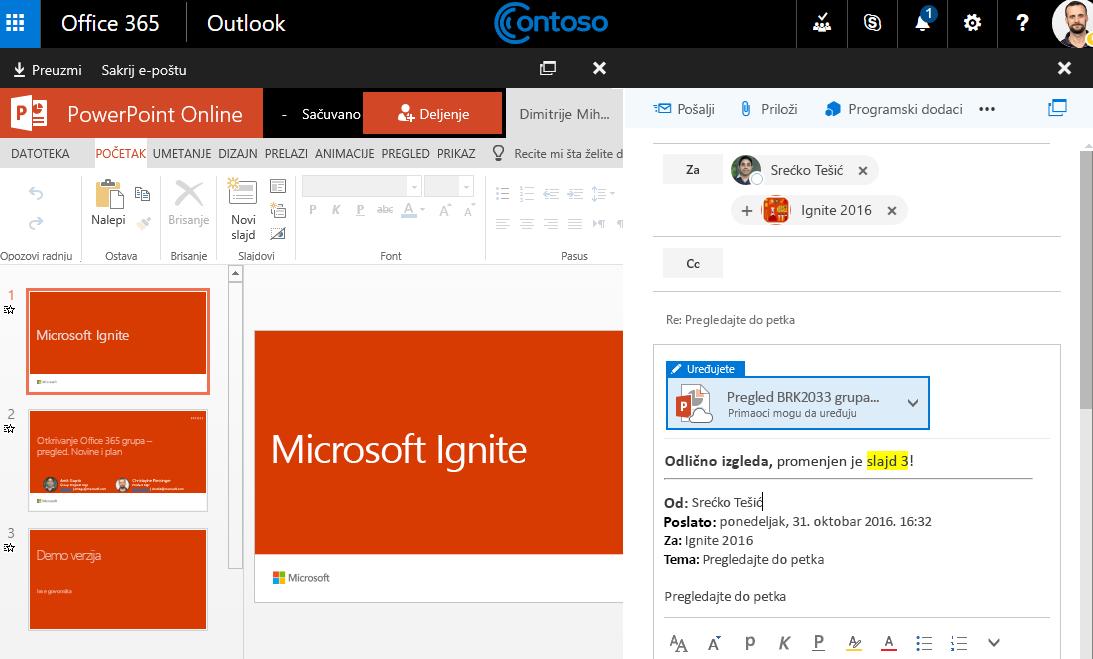 Snimak ekrana sa priloge e-pošte