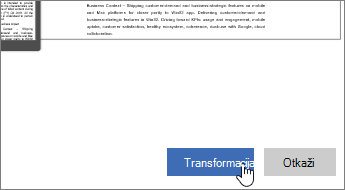 Kliknite na dugme Transformiši
