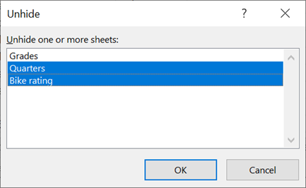 The Unhide dialog box