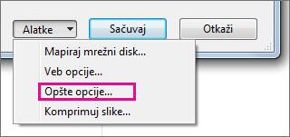 """Stavka """"Opšte opcije"""" na meniju """"Alatke""""."""
