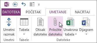 Umetanje datoteke u beleške kao prilog