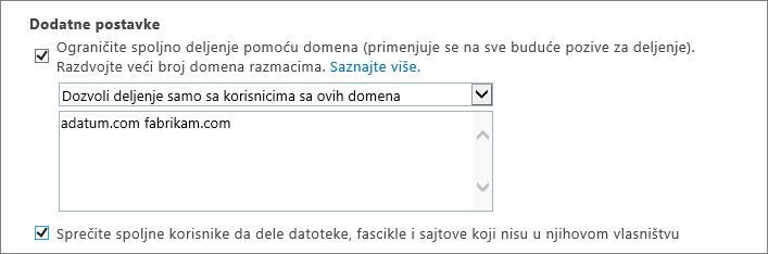 Dodatne postavke za ograničavanje spoljno deljenje u Office 365 SPO
