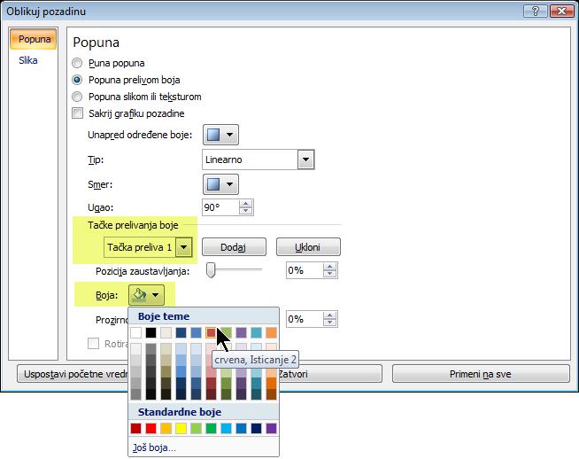 Za prilagođenu šemu prelivanja boja, izaberite tačku prelivanja boje, a zatim odaberite neku boju.