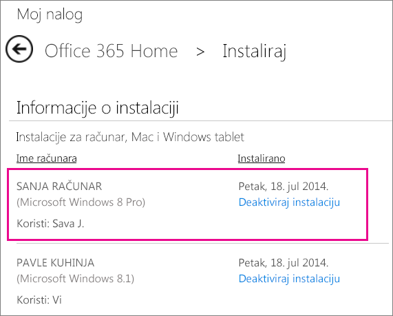 Kada neko ko deli vašu pretplatu instalira Office, videćete ime računara i ime osobe koja je instalirala Office.