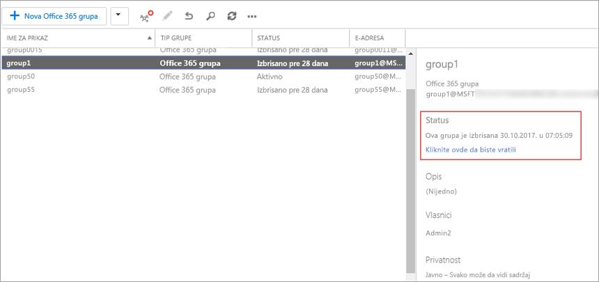 Da biste prikazali brisanje grupe, odaberite grupu i prikažite informacije u desnom oknu.